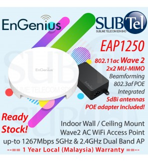 EAP1250 EnGenius Ceiling Wall Mount Dual Band Wave2 AC 2x2 MU-MIMO WiFi AP 2.4Ghz 5Ghz Malaysia 1267Mbps 122m 802.3af POE EAP1250kit 100 concurrent users