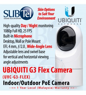 Ubiquiti Video Camera G3 FLEX Outdoor / Indoor IP Camera with Infrared and 802.3af Support UVC-G3-FLEX Malaysia