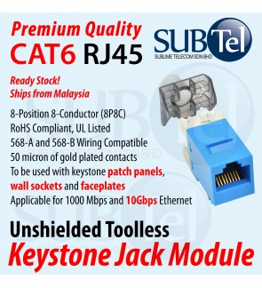 CAT6 CAT6A Cat6 A RJ45 Keystone Jack Module Malaysia Stock LAN Cable Ethernet Network Faster for Wall Faceplate Face plate Patch Panel PoE