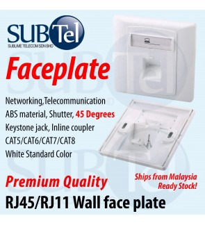 Wall Faceplate 1 or 2 - Port Keystone Jack Inline Coupler 45 Degrees Angle RJ45 RJ11 Toolless CAT6 CAT7 Face Plate CAT5 CAT3 CAT8 Degree Malaysia