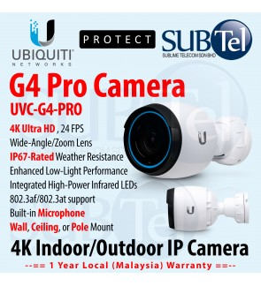 Ubiquiti Video Camera G4 PRO UVC-G4-PRO 4K Indoor / Outdoor IP Camera with Infrared and and Optical Zoom