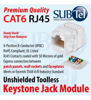 CAT6 RJ45 Keystone Jack Module Stock LAN Cable Ethernet Network Faster for Wall Faceplate Patch Panel PoE