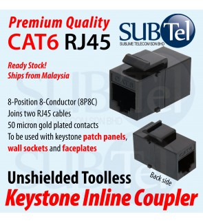 CAT6 CAT6A RJ45 Keystone Jack Inline Coupler Module Straight - Through Toolless Stock LAN Cable Ethernet Network Faster for Wall Faceplate Patch Panel PoE