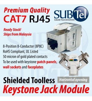 CAT7 RJ45 Keystone Jack FTP Zinc Alloy Module Female Adapter LAN Cable Ethernet Network Shielded Toolless Faster for Wall Faceplate Patch Panel PoE