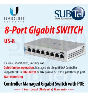 Ubiquiti US-8 Networks Unified US Switch 8 Gigabit port with POE 802.3at 802.3af POE-IN Passive 48v Malaysia