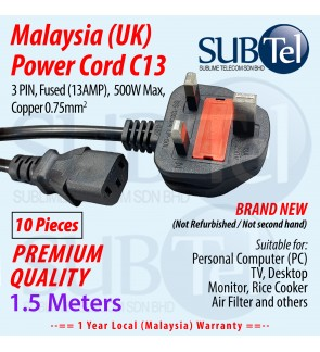 Malaysia Power Cord (UK) Fused 1.5 meters C13 cable for PC Desktop TV Monitor Rice Cooker Filter 3 PIN 13Amp Fuse