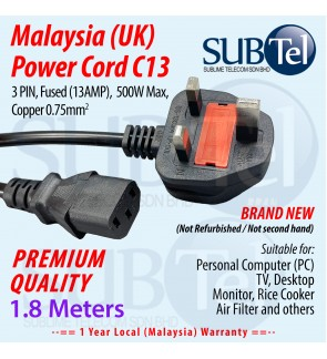 Malaysia Power Cord (UK) Fused 1.8 meters C13 cable for PC Desktop TV Monitor Rice Cooker Filter 3 PIN 13Amp Fuse