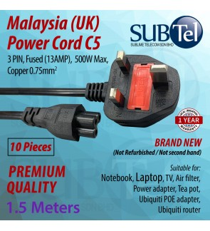 10 PCS Malaysia Power Cord (UK) Fused 1.5 meters C5 cable for Laptop Notebook TV Monitor Teapot Filter Power POE adapter Ubiquiti brand new 3 PIN 13Amp Fuse (10 pack)