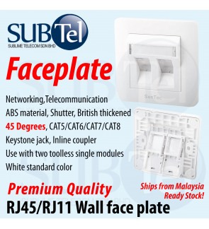 Wall Faceplate 2 Ports Keystone RJ45 RJ11 Toolless CAT6 CAT7 British Thickened 45 Degrees Angle Face Plate UK type CAT5 CAT3 CAT8 Jack Dual Port Degree