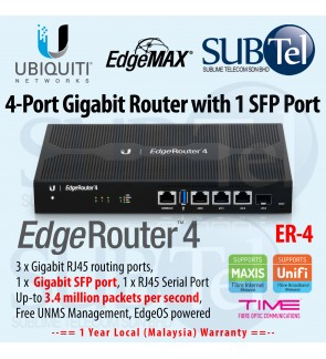 ER-4 Ubiquiti Networks EdgeRouter 4 - 4 port Gigabit Router with SFP UBNT Edge - Supporting 800 1000 MBps 1Gbps Time packages, DPI BGP IPv6 OSPF MPLS 3.4 Mpps