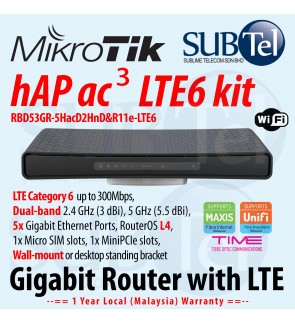 hAP ac3 LTE6 kit RBD53GR-5HacD2HnD&R11e-LTE6 Wireless Dual band Gigabit WiFi Router with LTE support 5 Gigabit Ethernet ports