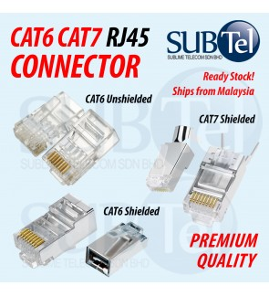 100PCS SenTec RJ45 CAT6 CAT7 Network Ethernet LAN Cable Connector FTP 8P8C Modular Plug 50U UTP STP Solid and Stranded Wire Gold-Plated Contacts Crimp 100 Pieces