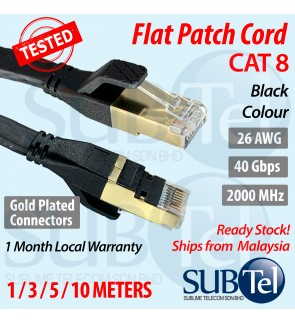 SenTec CAT8 RJ45 Flat Patch Cord LAN Cable Gigabit Ethernet Cable 40G 26 AWG SFTP Shielded UTP 40Gbps 1M 3M 5M 10M 1 3 5 10 meters
