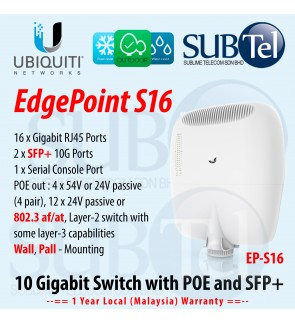 EP-S16 Ubiquiti Networks EdgePoint S16 Outdoor 10G Switch - 16 Gigabit port with POE and 2 10G SFP+ ports 802.3at 802.3af POE-OUT with POE UBNT supporting AirFiber VLAN IPv6 Smart Managed Switch Malaysia Warranty