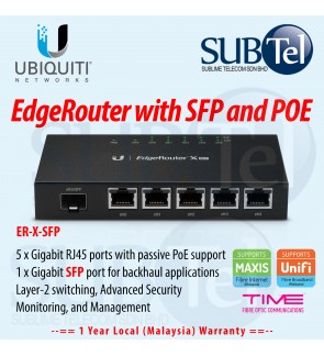 ER-X-SFP Ubiquiti Networks EdgeRouter X - 6 port Gigabit Router with POE and SFP UBNT Malaysia - Supporting DPI BGP IPv6 OSPF Edge Router