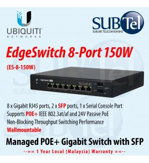 ES-8-150W Ubiquiti EdgeSwitch 8 Gigabit port with POE and 2 SFP ports 802.3at 802.3af POE-OUT Smart Managed Switch Malaysia 150W Networks  Edge Switch
