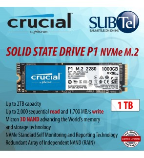 Crucial SSD Solid State Drive P1 1TB 3D NAND NVMe PCIe M.2 Read Write performance 1000GB