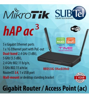 hAP ac3 RBD53iG-5HacD2HnD Wireless Dual band Gigabit WiFi Router Access Point ac 3 with support 5 Gigabit Ethernet ports