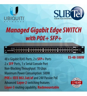ES-48-500W Ubiquiti Networks EdgeSwitch 48 Gigabit port with POE and 2 SFP and 2SFP+ 10G ports 802.3at 802.3af POE-OUT Smart Managed Edge Switch Malaysia 500W