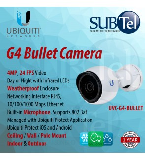 UVC-G4-BULLET Ubiquiti Video Camera G4 BULLET UVC 4MP Indoor / Outdoor IP Camera with 24 FPS video for day / night surveillance with infrared LEDs